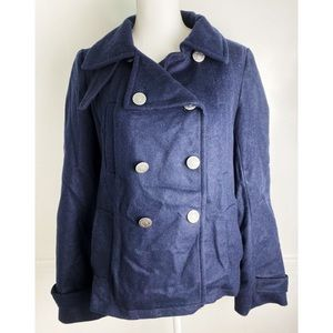 Gap • Navy Blue Double Breasted Wool Pea Coat